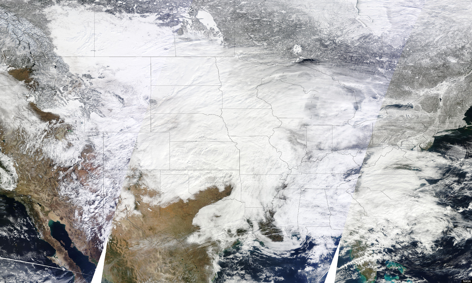 A snowstorm shown covering about 85% of the U.S.