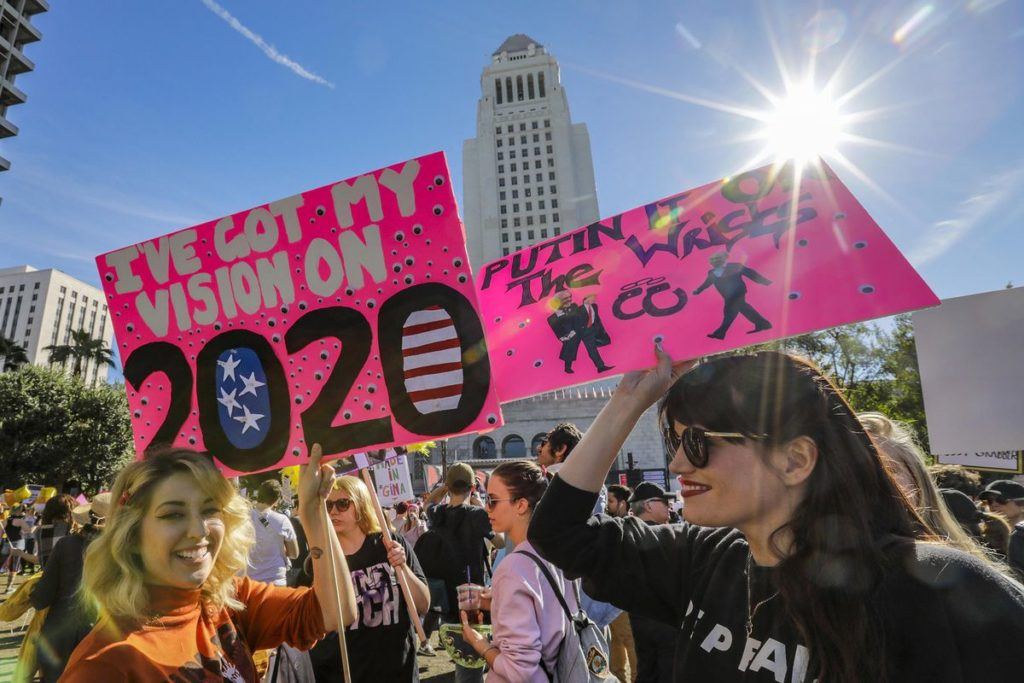 Women's March in Los Angeles: protesters with signs.
