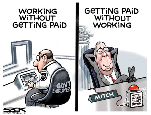 Govt Employees: Working without Getting Paid; Mitch McConnell: Getting Paid without Working