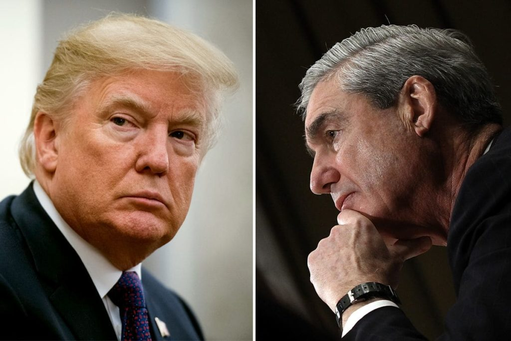 Photo of Trump facing a separate photo of Mueller
